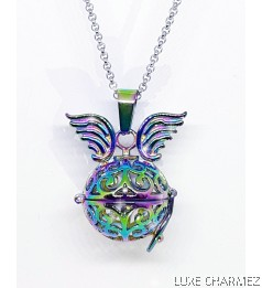 Unicorn Diffuser Necklace | Rainbow Steel Cage