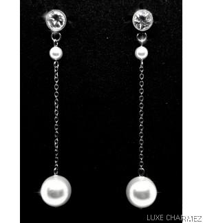 Long Shelly Pearl Earrings