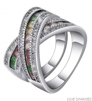 Cross Rainbow Ring   925 sterling silver  (Pre-Order)