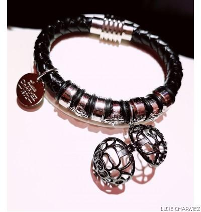 Black Infinite Diffuser Bracelet   Woven Leather Strap